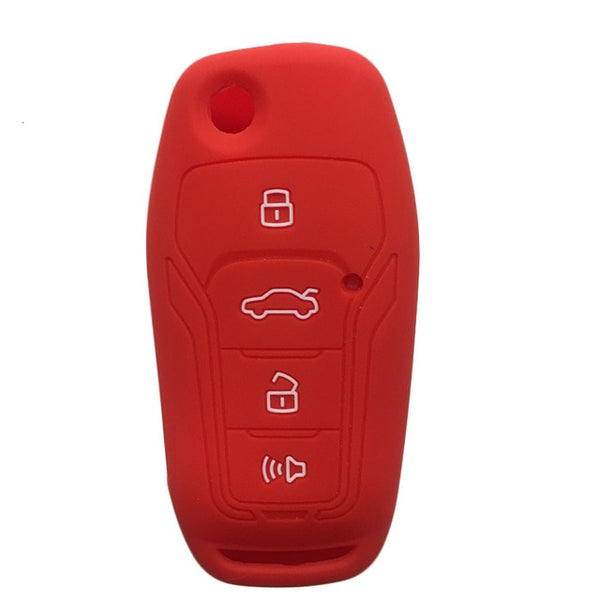 Silicone 4 Button Rubber Car Key Fob Skin Cover Case Holder Glove Jacket For Ford Focus & Xhorse