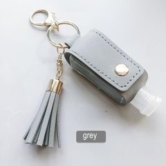 Hand Sanitizer Leather Keychain Holder Travel Bottle Refillable Container Reusable Bottle with Tassel Keychain Carrier