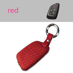 Galvanized Alloy Metal Genuine + Seude Leather Combo Car Smart Key Fob Cover Case Skin Jacket For Cadillac CT5, Chevrolet Corvette C8