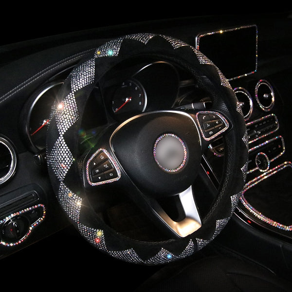 Universal 15 Inch Leather Crystal Diamond Pattern Steering Wheel Cover