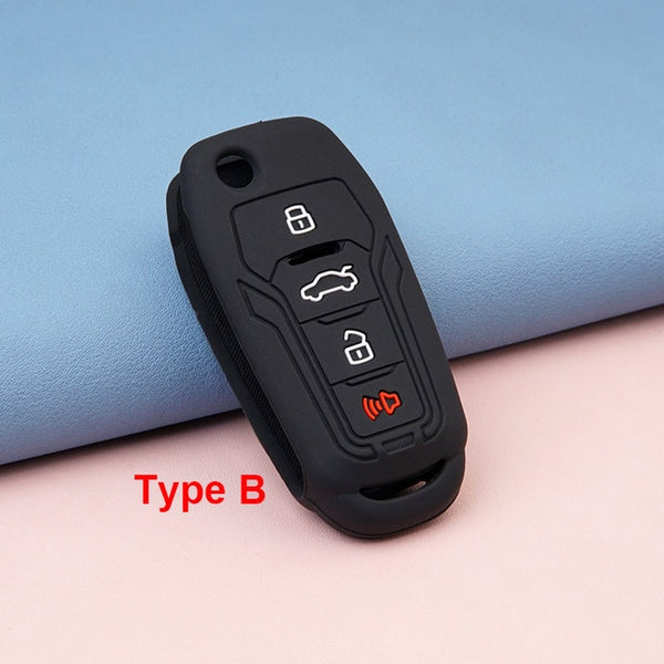 KeyProtek Silicone Rubber 4 Button Protective Flip/Switchblade Key Fob Remote Cover Case Skin Jacket Glove for Xhorse (PN: XEFO01EN) & Ford Focus