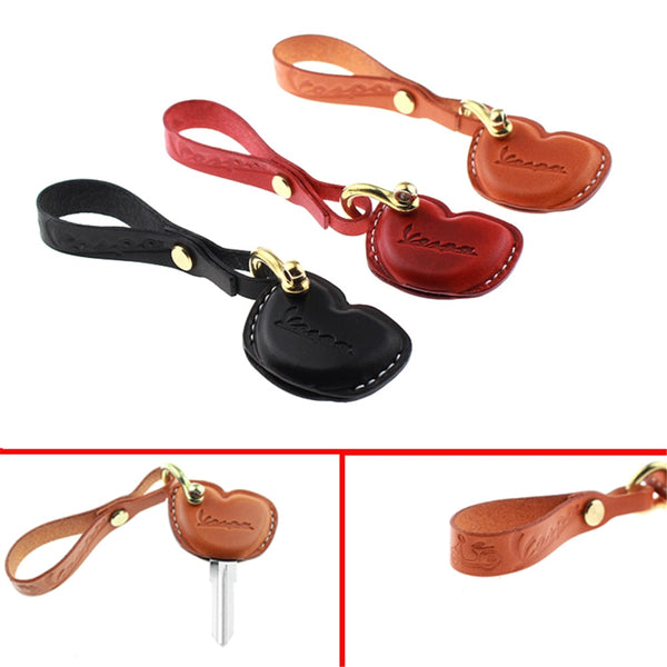 Leather Key Fob Cover Case Jacket Skin for Vespa Scooter Motorcycle Bike