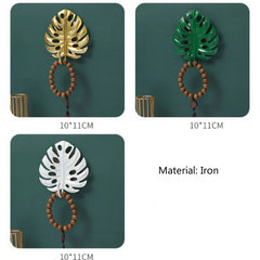 Metal Leaf Plant Wall Key Hooks Organizer Hangers Home Decor (2 Pack)