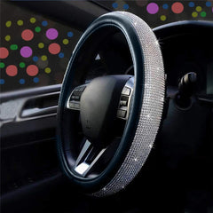 Universal 15 Inch Leather Bling Steering Wheel Cover