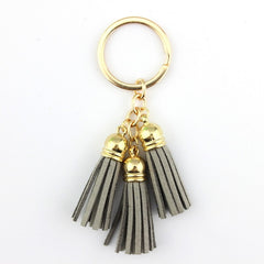 Trendy Triple Leather Tassel Keychain Key Chain Keyring for Car Key Fob Remote Bag