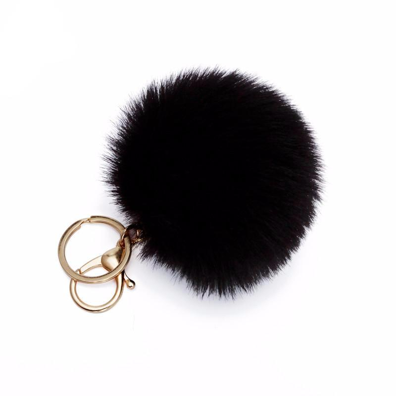 Pom Pom Puff Rabbit Fox Faux Fur Ball Car Keychain Key Chain with Golden Keyring Chain