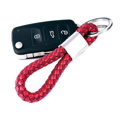 Leather Acorn Weave Woven Car Key Chain Keychain With Stainless Steel Key Ring Gift