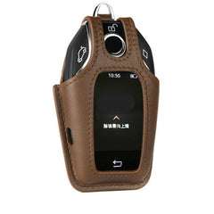 Leather Key Fob Remote Cover Case Skin Glove Sleeve Holder for BMW LCD Touch Screen Display Key 730li 740li 750li