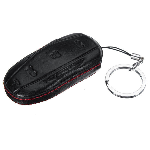 Handmade Leather Car Key Fob Remote Case Cover Glove with Keychain - For Tesla Model S