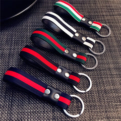 Stripe Colorful Braided Woven Car Auto Key Chain Keyring Strap