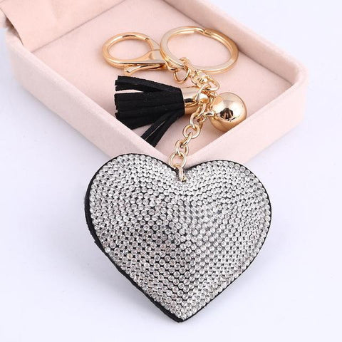 Heart Love Gold Crystal Rhinestone Key Chain Keyring with Leather Tassel