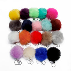 Pom Pom Puff Rabbit Fox Faux Fur Ball Car Keychain Key Chain with Silver Keyring Chain