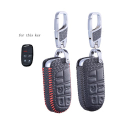 Leather Key Fob Remote Cover Case for Jeep Dodge Chrysler Fiat With Keychain