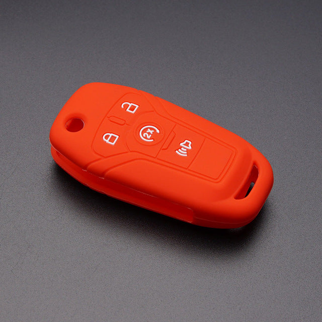 "Silicone Rubber Protective 4 Button ""Flip Key"" Fob Cover Case for Ford F-150 F-250, F-350, F-450, F-550 [SKU: FRDS4D]"