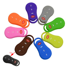 Silicone 4 Button Rubber Car Key Fob Skin Holder Protective For Chrysler Jeep Dodge