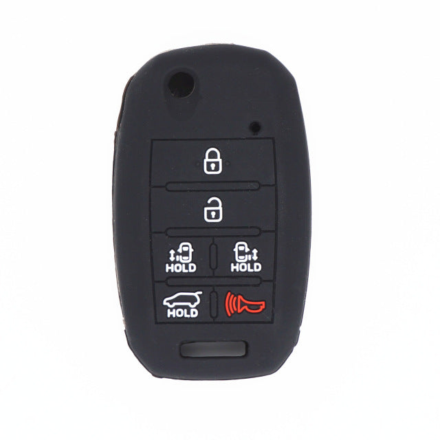 "Silicone Rubber 6 Button ""Stick, Switchblade"" Key Fob Remote Cover Case Jacket for Kia Sedona Mini Van"