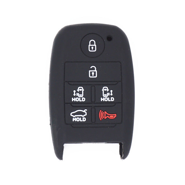 "Silicone Rubber 6 Button ""Smart"" Push Button Key Fob Remote Cover Case Jacket for Kia Sedona (SKU: KIAS6A)"