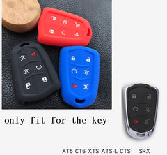 Silicone Rubber 6 Button Car Key Fob Cover Case Skin Jacket for Cadillac Escalade ESV XTS ATS CTS SRX [SKU: CADS6A]