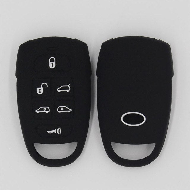 📌 Silicone Rubber Car Key Fob Remote Cover Case Holder Jacket Skin for Hyundai Entourage / Kia Sedona Mini Van 6 Buttons