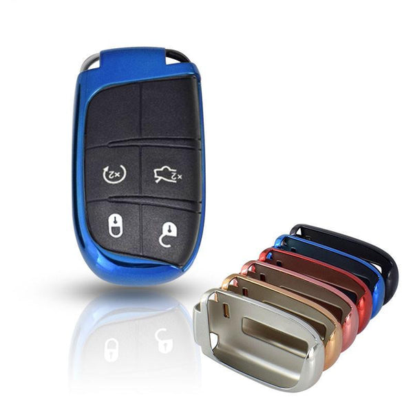 "Chrome CAR 'KEYLESS ENTRY' ""SMART"" KEY FOB REMOTE COVER CASE SKIN SLEEVE JACKET FOR Jeep, Dodge, Chrysler"
