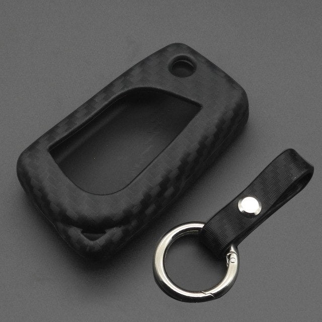 "Silicone Carbon Fiber ""Flip"" Key Fob Remote Case For Toyota C-HR CHR iM Camry"