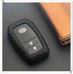 Silicone Carbon Fiber Rubber Key Fob Remote Proximity Remote Cover Case Skin Jacket For Toyota Mirai / Land Cruiser HYQ14FBA (Universal Fit)