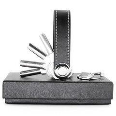 Compact Multi-Functional Leather Folding EDC Key Holder Organizer, with Clip