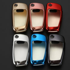 Chrome CAR SMART KEY FOB REMOTE SOFT COVER CASE SKIN SLEEVE JACKET FOR AUDI A3 A4 A6 Q7 TT R8 KC