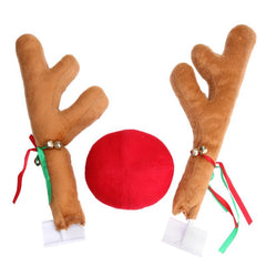 Car Reindeer Antlers Ears Christmas Costume with Rudolf Red Nose