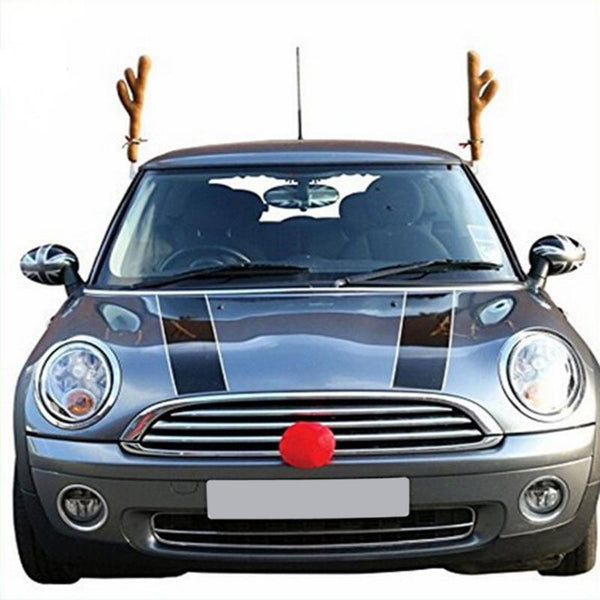 Car Reindeer Antlers Christmas Costume with Rudolf Red Nose
