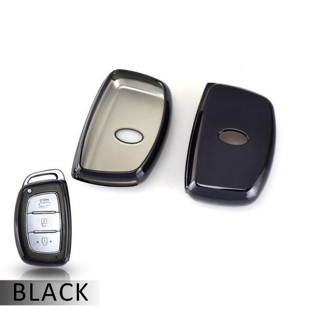 "Chrome TPU CAR 'KEYLESS ENTRY' ""SMART"" KEY FOB REMOTE COVER CASE SKIN SLEEVE JACKET FOR For  Hyundai Elantra, I40, Ioniq, Sonata, Tucson"