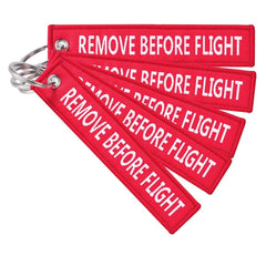 Remove Before Flight Key Tag Keychain Keyring - 5 PACK