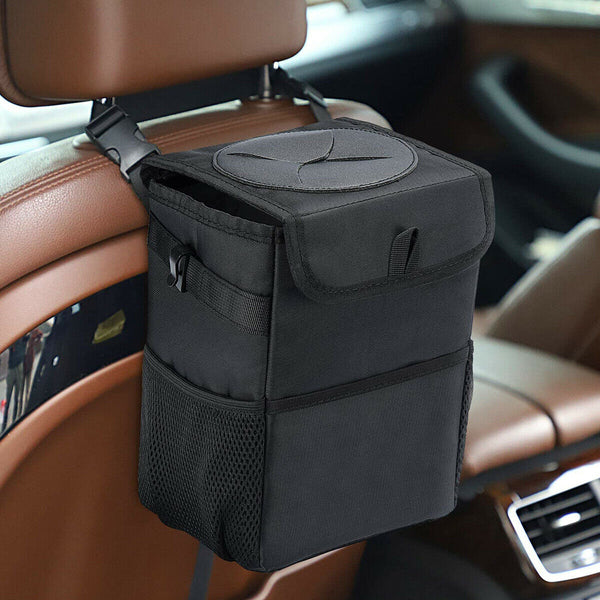 Waterproof Auto Car Storage Trash Can with Lid & Storage Pocket, Black
