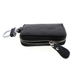 Universal Car Key Fob Remote Faux PU Leather Pouch with Keychain & Metal Hook