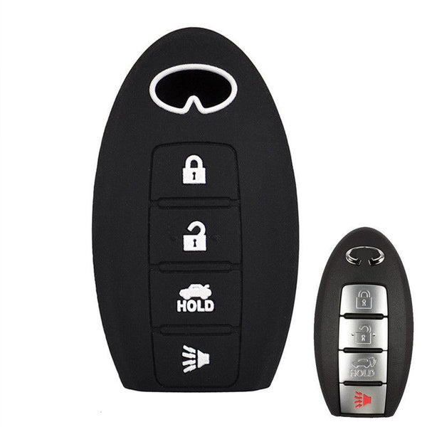 Infiniti 4 Button Silicone Key Fob Silicone Rubber Remote Cover Case Jacket FX GX QX (SKU: INFS4A)