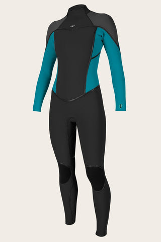 O'NEILL WOMEN'S PSYCHO ONE 3/2MM BACK ZIP FULL WETSUIT BLACK/BLUE FARO/ABYSS