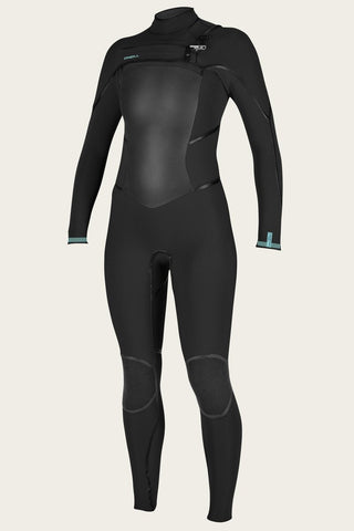 O'NEILL WOMEN'S PSYCHO TECH 4/3+MM CHEST ZIP FULL WETSUIT BLACK/BLUE FARO