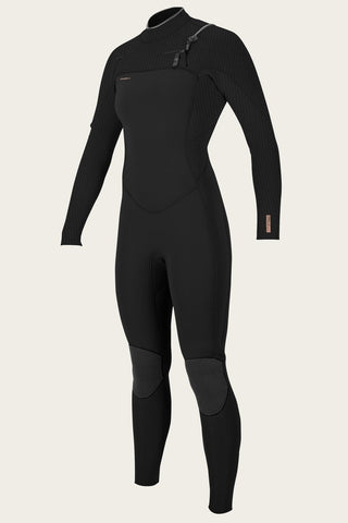 O'NEILL WOMEN'S HYPERFREAK 4/3+MM CHEST ZIP FULL WETSUIT BLACK/BLACK