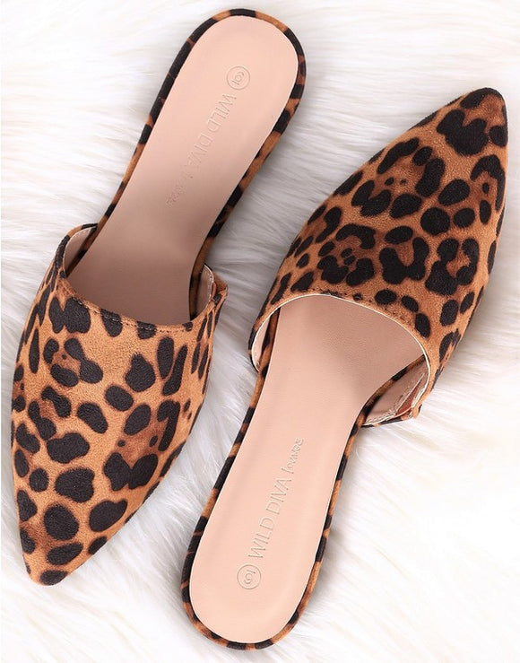 Leopard Suede Slip On Flats