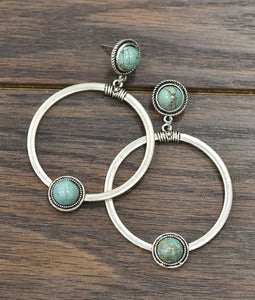 Turquoise Hoop Earrings-Accessories-TERRA COTTA BOUTIQUE