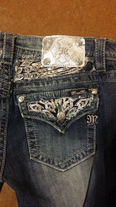 Miss Me, Silver, Rhinestones. 34' Boot Cut-Jeans-TERRA COTTA BOUTIQUE