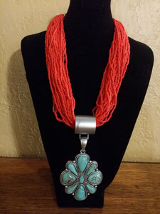 Red Chunky Necklace.-Jewelry-TERRA COTTA BOUTIQUE