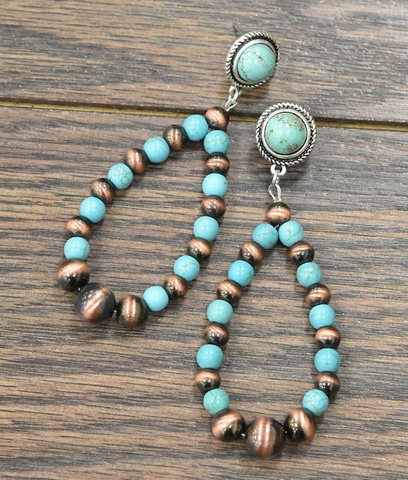 Turquoise Copper Beaded Earring-Accessories-TERRA COTTA BOUTIQUE