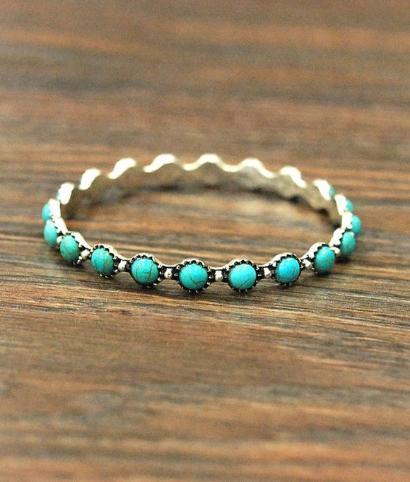 Turquoise Bangle Bracelet-Jewelry & Accessories-TERRA COTTA BOUTIQUE