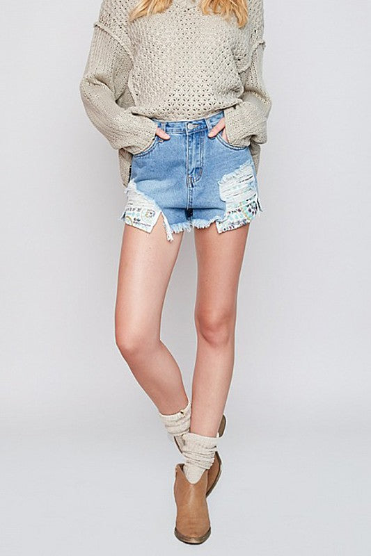 Shorts With Multi Colored Sequin Pockets . Distressed Denim in Juniors sizes.-Shorts-TERRA COTTA BOUTIQUE