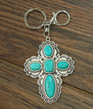 Cross Turquoise Key Chain or Bag Jewel-Accessories-TERRA COTTA BOUTIQUE