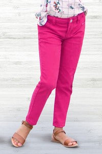 Pink Jeggings for girls. Has back pockets.  Knit material.