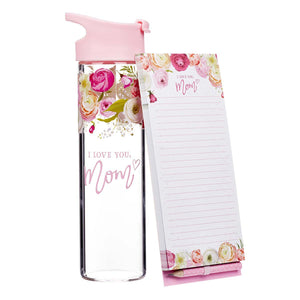 Mother's Day Gift Set. Water Bottle and note pad. I Love you Mom with floral pattern.-Gifts-TERRA COTTA BOUTIQUE