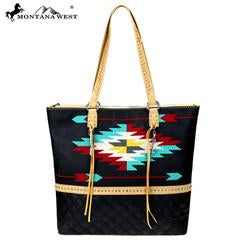 Montana West Embroidered Collection Tote. Size 14 x 16 x 4.50. Faux leather.-Handbags-TERRA COTTA BOUTIQUE