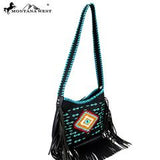 Montana Aztec Bo Ho Black Fringe Handbag-Handbags-TERRA COTTA BOUTIQUE